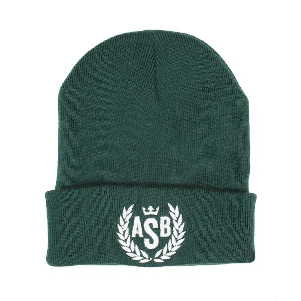ASB Crown Embroidery Cuff Beanie - Bottle Green