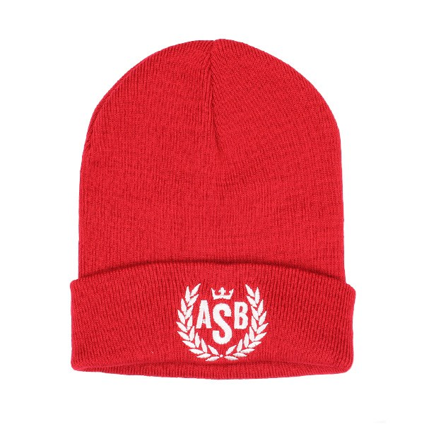 ASB Crown Embroidery Cuff Beanie - Red