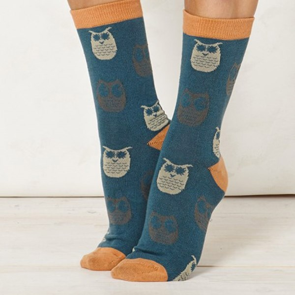 Ladies Owlet Teal Bamboo Socks