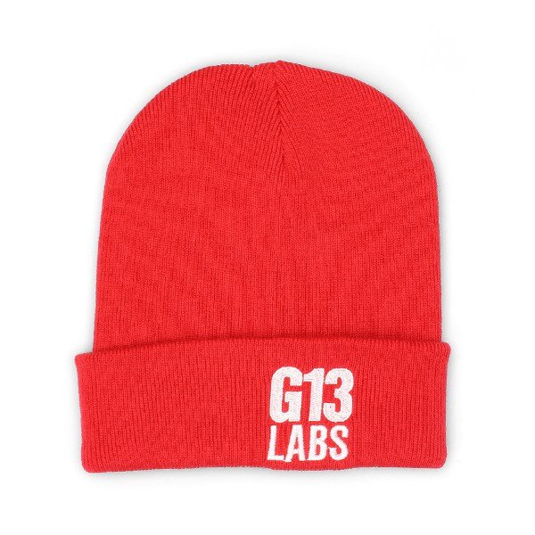 Side Trademark Embroidery Cuff Beanie Bright Red