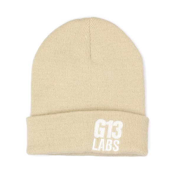 Side Trademark Embroidery Cuff Beanie Sand