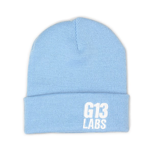 Side Trademark Embroidery Cuff Beanie Sky Blue