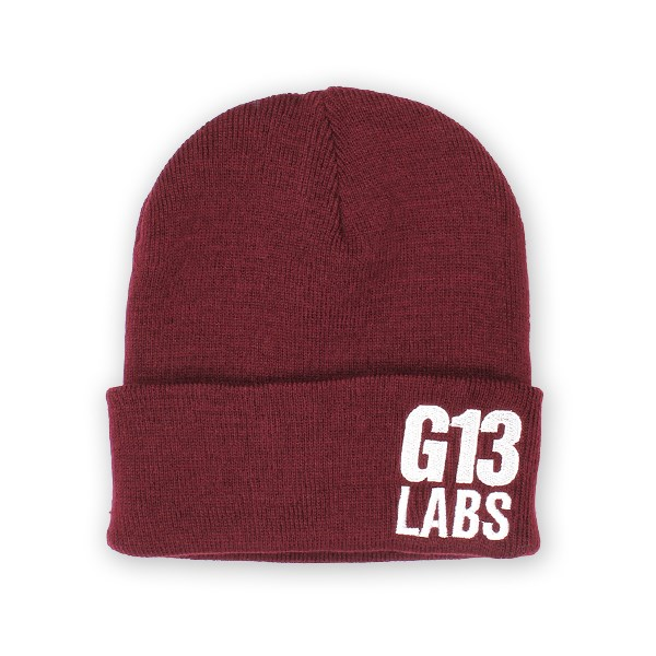 Side Trademark Embroidery Cuff Beanie Burgundy