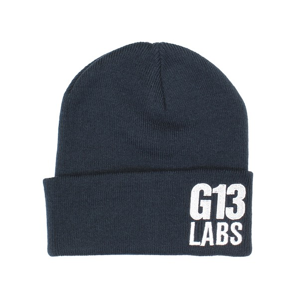 Side Trademark Embroidery Cuff Beanie Navy Blue