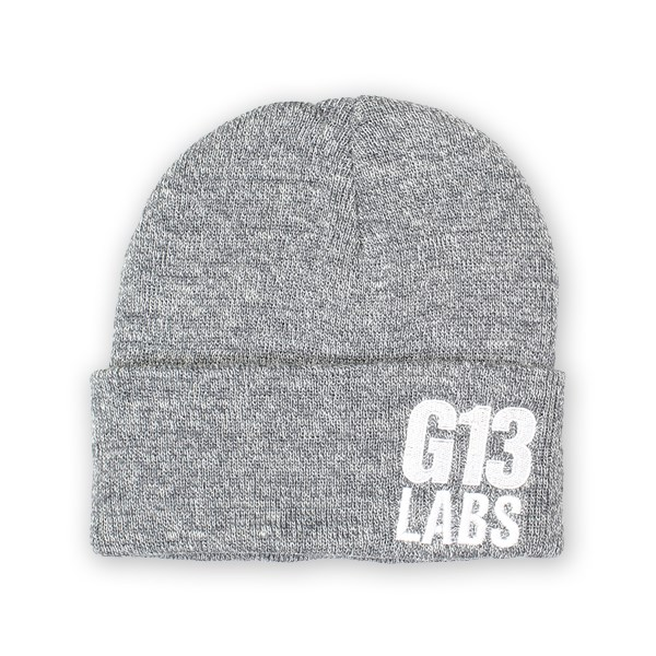 Side Trademark Embroidery Cuff Beanie Heather Grey