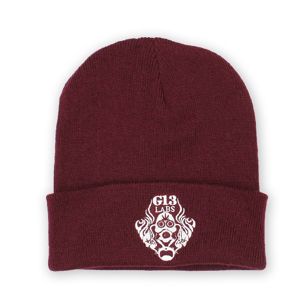 Gas Mask Logo Embroidery Cuff Beanie Burgundy