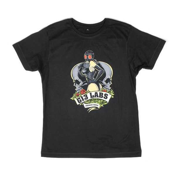 Gas Mask Lady T-shirt Black