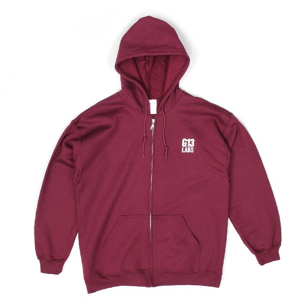 Embroidered Trademark Zip Hoody Burgundy