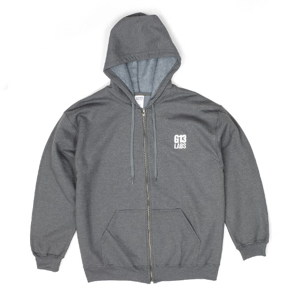 Embroidered Trademark Zip Hoody Charcoal