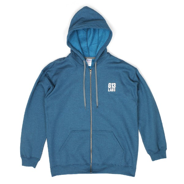 Embroidered Trademark Zip Hoody Blue