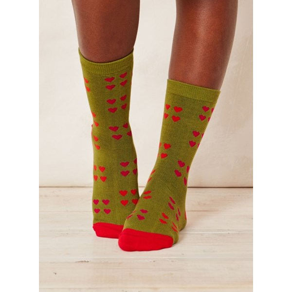 Ladies Melrose Heart Aniseed Bamboo Socks