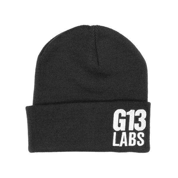 Side Trademark Embroidery Cuff Beanie Black