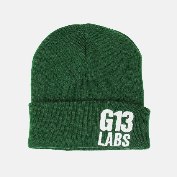 Side Trademark Embroidery Cuff Beanie Bottle Green